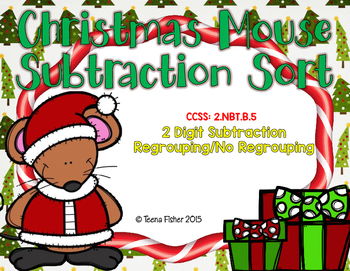Christmas Mouse 2 Digit Subtraction w/regrouping sort 2nd Grade