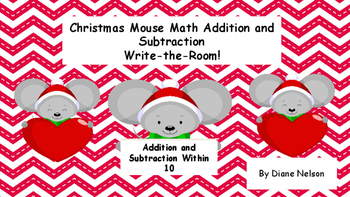 Christmas Mouse Addition and Subtration Write-The-Room!