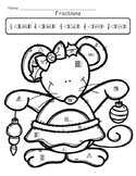 Christmas Mouse Fractions Color Sheet