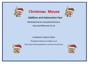 Christmas Mouse  Game Addition and Subtraction to Ten for Computational Fluency