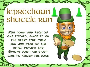 """St. Patrick's Day PE Stations- 20 """"Luck of the Irish"""" Activity Cards"""