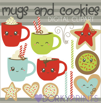 Christmas Mugs and Cookies Clip Art