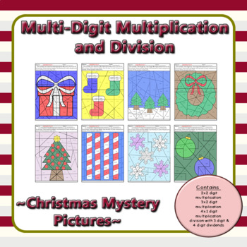 Christmas Multi-Digit Multiplication and Division Mystery Pictures