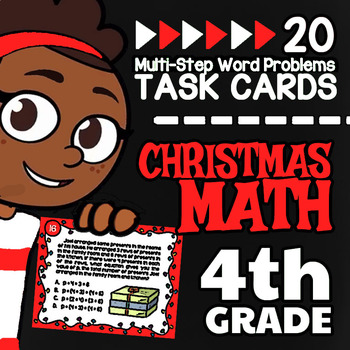 4th Grade Multi-Step Word Problems ☆ 4th Grade Christmas Math Task Cards