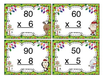 Christmas Multiplication (1 Digit x Multiples of Ten CCSS 3.NBT.3) Task Cards