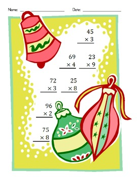 Christmas Multiplication (2 Digit by 1 Digit)