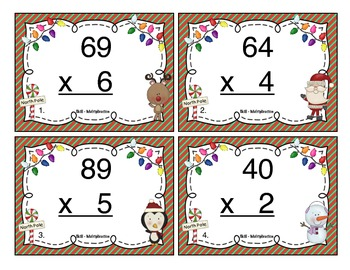 Christmas Multiplication (2 Digit x 1 Digit) Task Cards