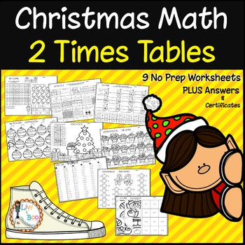 Christmas Multiplication - 2 Times Tables - No Prep Worksheets