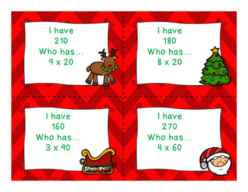 3rd Grade Christmas Math I Have Who Has Multiplying Multiples of 10 Game 3.NBT.3
