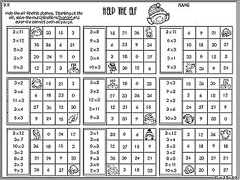 Christmas Multiplication - 3 Times Tables - No Prep Worksheets
