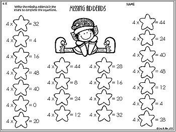 Christmas Multiplication - 4 Times Tables - No Prep Worksheets