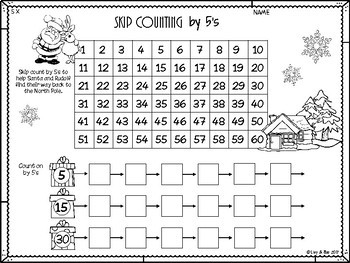 Christmas Multiplication - 5 Times Tables - No Prep Worksheets