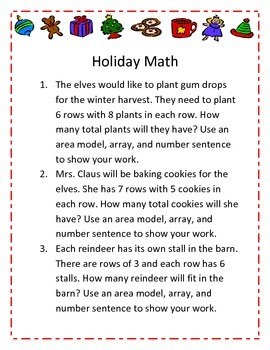 Christmas Multiplication Array and Area Model