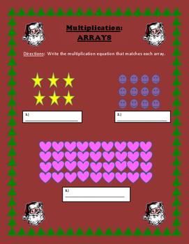 Christmas Multiplication Array worksheet