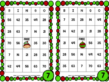 Christmas Multiplication Bingo 2-10 facts
