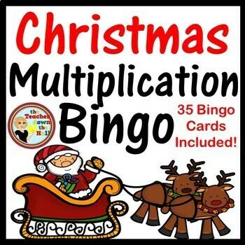 Christmas Multiplication Bingo - Facts thru 6 Game w/ 35 B
