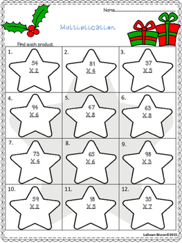 Christmas Multiplication By 1 Digit Numbers