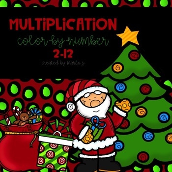 Christmas Multiplication Color-By-Number 2-12