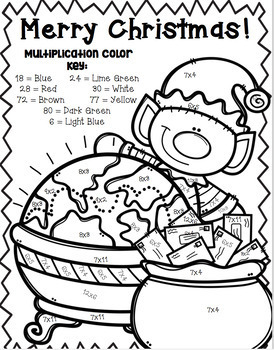 Christmas Multiplication Color-By-Number