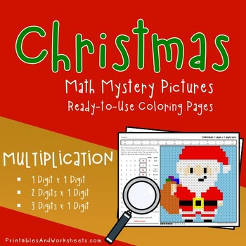 Christmas Multiplication Worksheets, Math Mystery Pictures Coloring Sheets