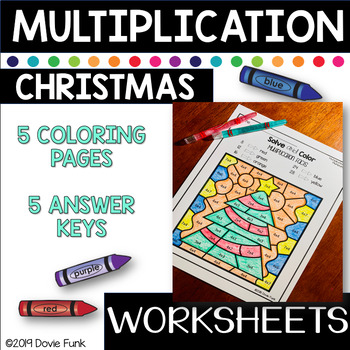 Christmas Multiplication Coloring Worksheets Solve and Color Set 1