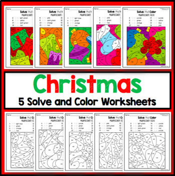 Christmas Multiplication Coloring Worksheets Solve and Color Set 2