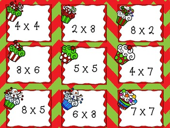 Christmas Multiplication Cupcakes: Task Cards for Practice