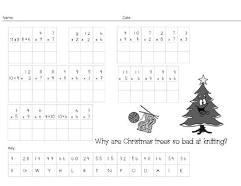 Christmas Multiplication/ Division Riddle