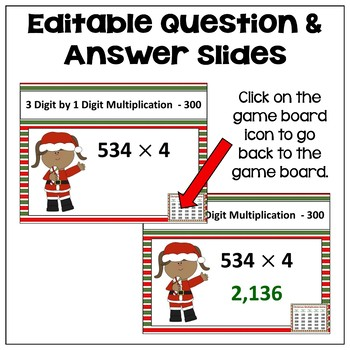 Christmas Multiplication Game - Similar to Jeopardy