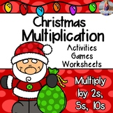 Christmas Math Multiplication Games/Activities/Worksheets (Multiply by 2, 5, 10)