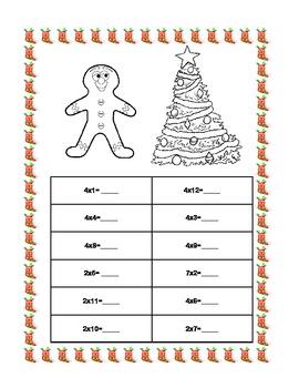 Christmas Multiplication Practice Tables 1-4 Printable Worksheets