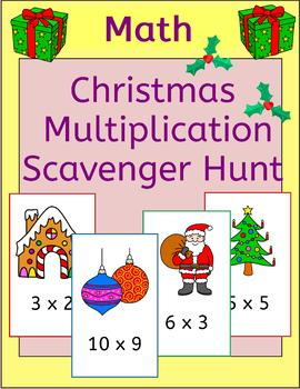 Christmas Multiplication Scavenger Hunt - math around the room