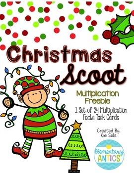 Christmas Multiplication Scoot Task Cards Freebie