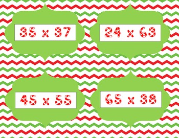 Christmas Multiplication Task Cards with Chevron Background