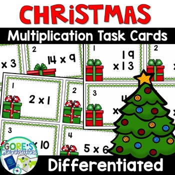 Christmas Multiplication Task Cards - 3 Sets Differentiated