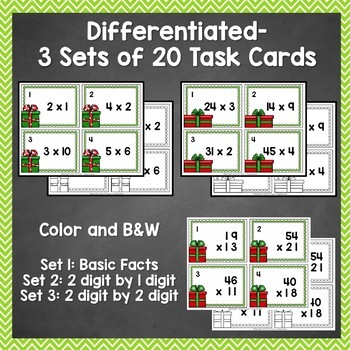Christmas / December Multiplication Task Cards - 3 Sets Differentiated