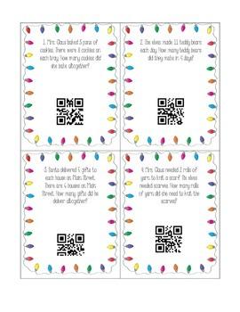 Christmas Multiplication Word Problem QR Task Cards