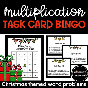 Christmas Multiplication Word Problem Task Card Bingo