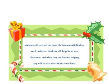 Christmas Multiplication Word Problems by Linda Boyd