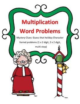 Christmas Math Multiplication Word Problems Mystery Holida