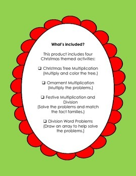 Christmas Multiplication and Division Activities