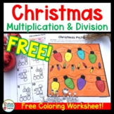 Christmas Multiplication and Division Coloring Page FREE