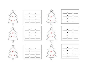 Christmas Multiplication and Division Fact Familes