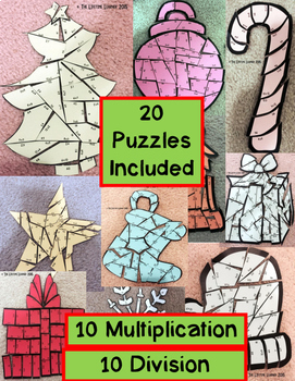 Christmas Multiplication and Division Puzzles BUNDLE