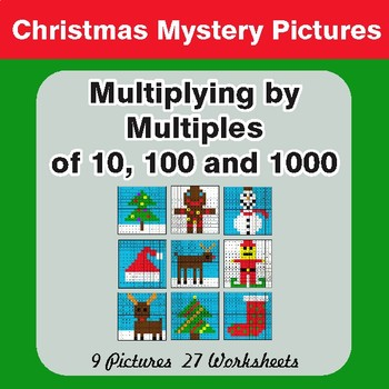 Christmas: Multiplication by 10, 100, 1000 - Color-By-Number Math Mystery Pictures
