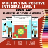 Christmas: Multiplying Integers #1 Pixel Art Mystery Pictures