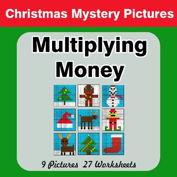 Christmas: Multiplying Money - Math Mystery Pictures / Color By Number