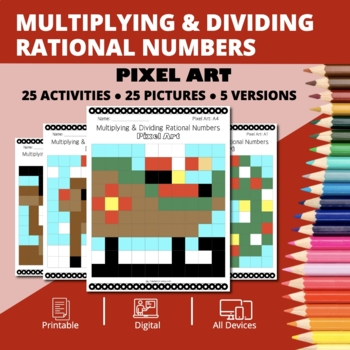 Christmas: Multiplying and Dividing Rational Numbers Pixel Art Mystery Pictures