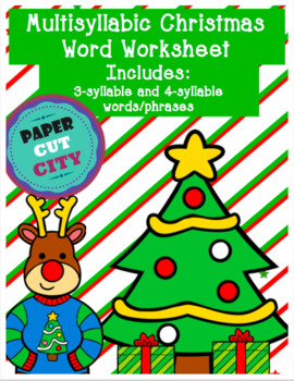 Christmas Multisyllabic Word Worksheet