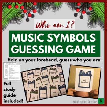 """Christmas Music Game- Music Symbols """"Who Am I"""" Guessing Game and Activities"""
